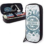 San Diego California Hohe Kapazität Leder Federmäppchen Bleistift Stift Schreibwaren Halter Box...