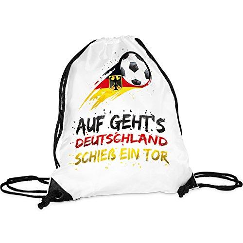 Tassendruck WM-Turnbeutel mit Spruch Schieß EIN Tor/Rucksack/Hipster/Gym-Bag/Sport-Beutel/Fussball/National-Manschaft/Deutschland/Beste Qualität - 25 Jahre Erfahrung