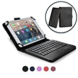 Cooper Infinite Executive Keyboard Case for 7-8' Tablets | 2-in-1 Bluetooth Wireless Keyboard & Leather Folio Cover, Universal, 100HR Battery (Black)