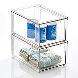 mDesign Cajón organizador – Caja apilable de plástico para los armarios de...