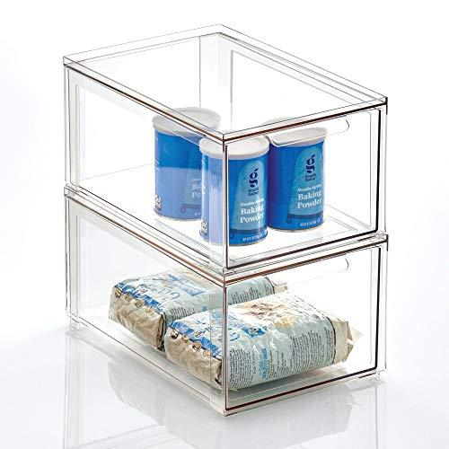 mDesign Cajón organizador – Caja apilable de plástico para los armarios de la cocina y la nevera – Organizador de cocina para aperitivos, pasta, verduras, etc. – Juego de 2 – transparente