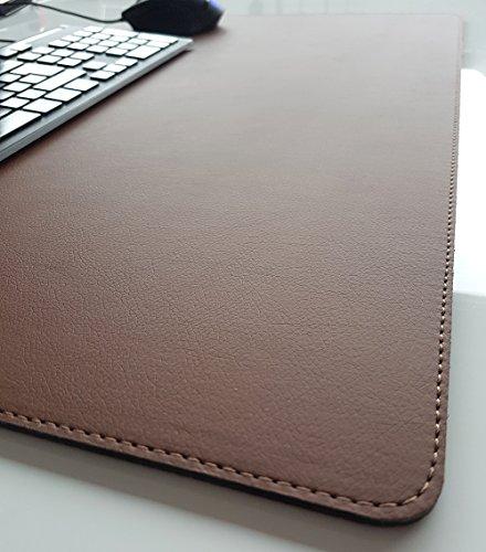 Schreibtischunterlage sanft lux Leder 70 x 50 Braun mit Braune Naht