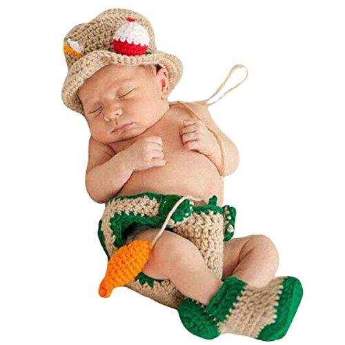 Happy Cherry Neugeborenes Baby Fischer Figur Foto Kostüm Fotografie Prop Handarbeit Bekleidungsset Fotoshooting Stricken Tiere Kostüm Baby Junge Trikot Foto Outfits Requisiten Für 3-4 Monate