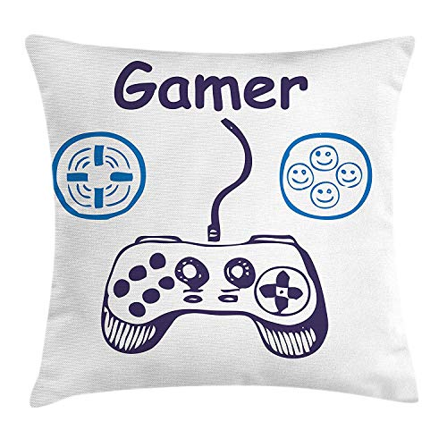 ZMYGH Gamer Throw Pillow Cushion Cover, Sketch of Videogame Controller with D-Pad and Smiling Buttons Design, Decorative Square Accent Pillow Case, 18 X 18 Inches, Azure Blue Purple White