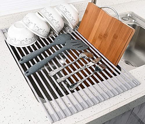Rotolo multifunzione per lavello, asciugapiatti, sgocciolatoio per lavello da cucina, griglia adattiva per lavello in silicone. Scolapiatti pieghevole e facile da riporre. Resistente al calore.