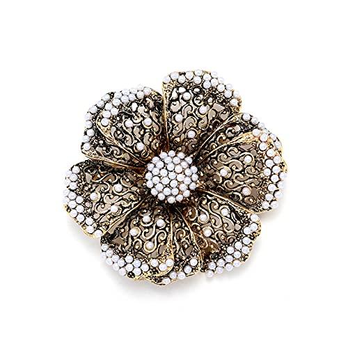Broche de flor de filigrana Vintage para mujer, perlas, alfileres de flores grandes, bufanda, broche para ropa, broches para banquetes, joyería
