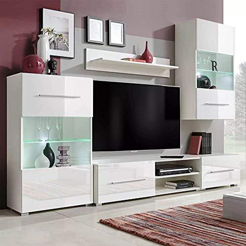 Wohnwand 5er Set Fernsehwand Schrankwand Anbauwand Wohnzimmerschrank Möbel Set mit LED-Beleuchtung,Wandschrank, freistehender Schrank, TV-Schränke,Wandregal weiß