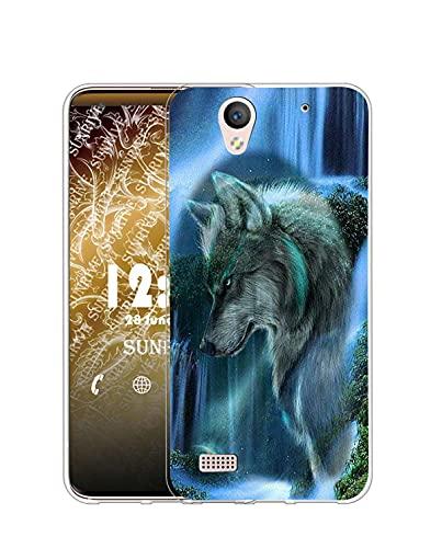 Sunrive Kompatibel mit Sony Xperia C4 Hülle Silikon, Transparent Handyhülle Schutzhülle Etui Hülle (Q Wolf 3)+Gratis Universal Eingabestift MEHRWEG