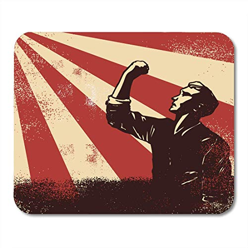 Mouse Mat Pad, Propaganda Red Communist Revolution Arbeiter, der Fäuste auf Sunbeam Backgound Rebel Resistance Druable Mouse Pad für Computerklasse erhebt,25x30cm