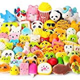 WATINC Random 70 Pcs Squishies, Birthday Gifts for Kids Party Favors, Slow Rising Simulation Bread Squishies Stress Relief Toys Goodie Bags Egg Filler, Keychain Phone Straps, 1 Jumbo Squishies include