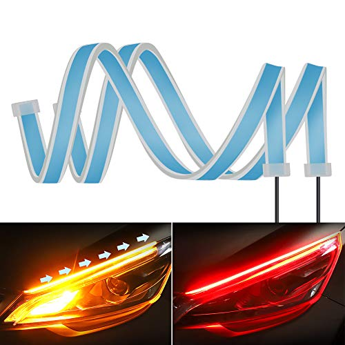 2PC 24 Inch Dual Color Red/Sequence Amber LED Headlight Strip Tube, Waterproof Flexible Adhesive Daytime Running Lights DRL Switchback Glow Light Strip Headlight Decorative Lamp for Car