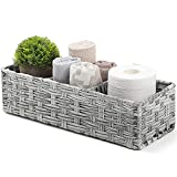 [Larger Compartments] Toilet Tank Topper Paper Basket - Tank Tray Split Hand-Woven Basket - Small Baskets for Organizing, Rustic Farmhouse Bathroom Decor, Storage Bin, Counter Organizer, Gray Wash