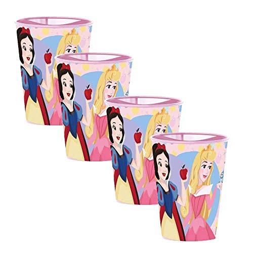 Juego de 4 vasos infantiles de plástico duro para niñas y niños, para casa, escuela, camping, varios personajes de 260 y 473 ml con licencia (Blancanieves Princesas Disney)