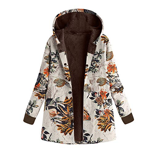 TOPKEAL Jacke Warme Mantel Damen Herbst Winter Sweatshirt Blumendruck mit Kapuze Kapuzenjacke Hoodie Taschen Pullover Übergroße Outwear Coats Mode Tops (Orange-2, L)
