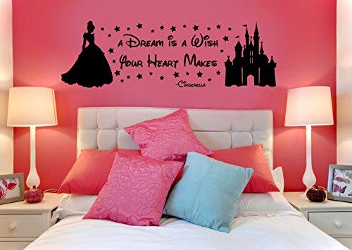 Disney Cendrillon A Dream is a Wish your Heart Makes enfants de chambre d'enfant chambre vinyle Stickers Sticker mural en vinyle de transfert de pochoir, Vinyle, Blanc, 100 x 35