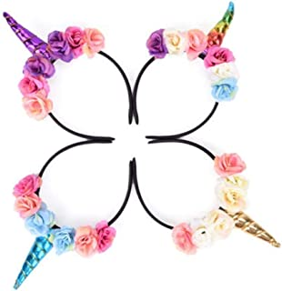 TableRe 4 Pack Kids Girls Unicorn Headbands Horn Floral Party Hairband Fancy Dress Cosplay Decoration Supplies for Party