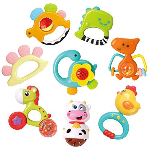 REMOKING Rassel Beißring Spielzeug, Silikon Baby Rassel Beißring Set ohne BPA, Früherziehung Spielzeug für 0,3,6,9,12 Monate Kleinkinder (8 PCS)