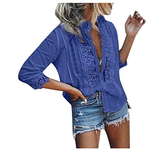 KIMODO T-Shirt Bluse Damen Reizvolle Tops Frauen Spitze Weste Frauen Mode Lässig Kurzarm V-Ausschnitt Baumwollärmeliges mit Mittleren Ärmeln Shirts Oberteil (A-Blau, XXL)