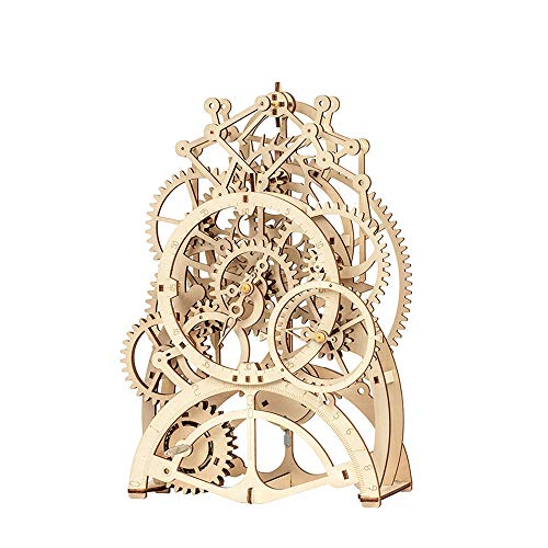3D Wooden Mechanical Pendulum Clock Puzzle Kits Mechanical Puzzle Toy Gifts Family Wooden Craft KIT Supplies-Best Birthday Gifts (Color : A)