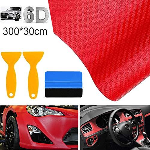 bangminda Autofolie Carbon Folie 6D Auto Folie Selbstklebende Kohlefaser-Vinylfolie, Wasserdichter Autoaufkleber mit Kunststoffschabern für Auto Computer Motorrad Möbel (Rot, 300x30 cm)