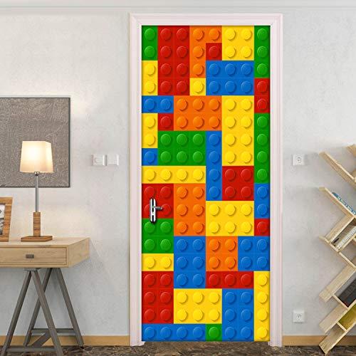 qunxun Fototapete Kinderzimmer Lego Bricks Kinderzimmer Schlafzimmer Dekoration Selbstklebende Tür Aufkleber PVC Wandbild Wasserdicht