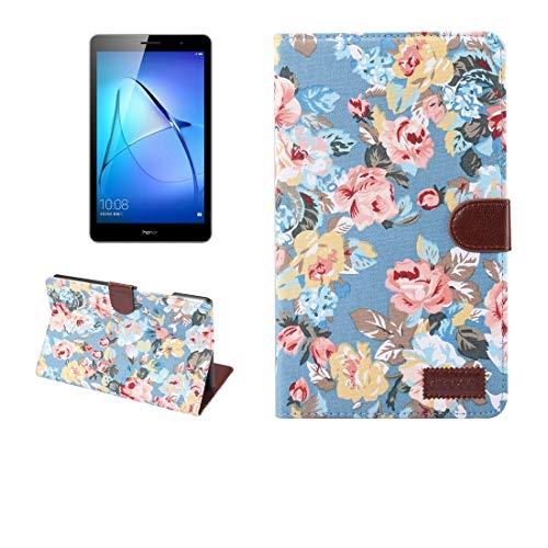 YANTAIAN Huawei MediaPad T3 de 8.0 Pulgadas Patrón de Flores Superficie de Tela Horizontal Funda Protectora de Cuero con Cremallera con Soporte y Ranuras para Tarjetas & Billetero y Marco de Fotos