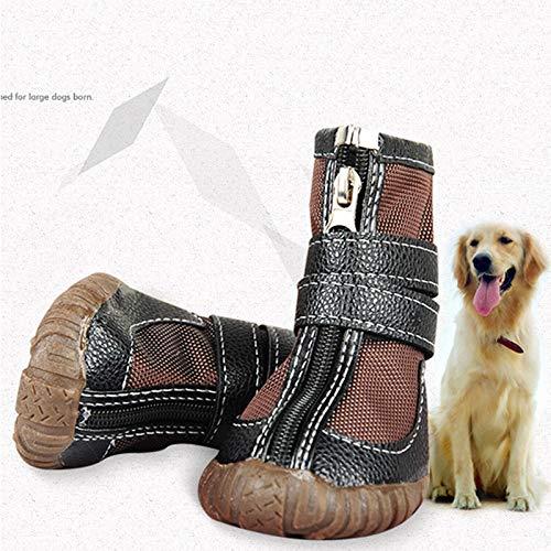 Bayue grote hondenschoenen van PU-leer voor de winter, waterdicht, voor honden, puppy's, Martin laarzen, antislip, Pitbull Golden Retriever, regenschoenen, 10, Bruin