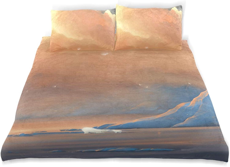 Vipsa Parure de lit 3 pièces avec Housse de Couette Motif Nature Arctique 100% Coton avec Fermeture éclair