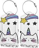 Colorido gatito Meowgy gato Lage bolsa de cuero sintético para maletas, diseño de etiquetas de viaje con cubierta de privacidad con bucles de acero