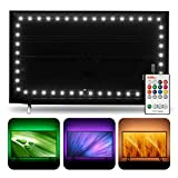 Hamlite TV LED Backlight for 75 to 85 inch TVs, RGBW and 6500K True White, 18ft USB LED Strip covers 4/4 Sides of 70 72 75 80 82 85 Inch HDTV, W-shape Easy-curve Design TV Bias Lighting with RF Remote