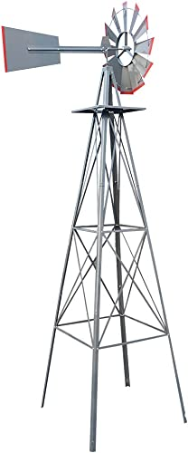popular 8FT outlet sale Windmill Yard Garden Metal Ornamental Wind Mill Weather Vane Weather Decoration for Home, discount Backyard,Grey outlet online sale