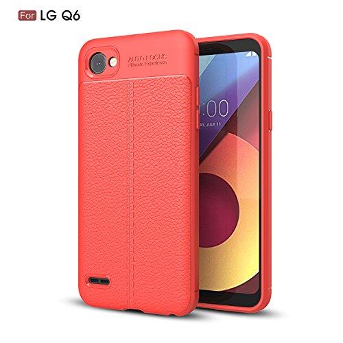 TiHen Funda LG Q6/Q6 Plus, Funda 360 Grados [con Pantalla de Vidrio Templado] Ultrafino Funda de Cuero Case Cover Skin telefonía Carcasas Protective para LG Q6/Q6 Plus- Roja