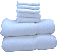 Bathroom Towels for bathing 2 Bath Towels white 70x140, 2 Hand Towels 2 Face Towels White Highly Absorbent Cotton Bathing ...