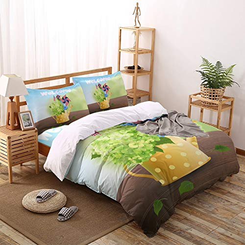 Fantasy Staring 4 Pieces Duvet Cover Bedding Set - Independence Day American Flag Windmill Fresh Hydrangea Bucket Comforter Cover Luxury Soft Bedding Set with Zipper and Corner Ties, King Size