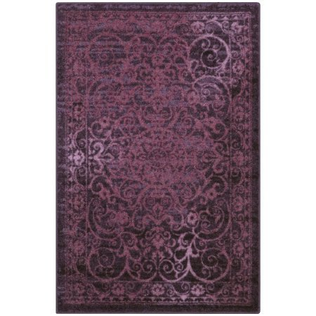 Mainstays India Textured Print Area Rug or Runner Collection, Wineberry, 2