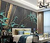 Papel pintado mural Salón dormitorio mural Nuevo estilo chino luz de bambú lujo TV sofá fondo pintura mural-Mural 3D_430 * 300