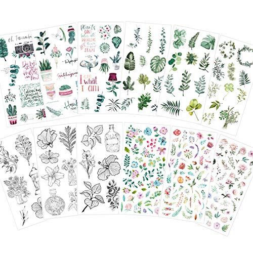 Watercolor Large Stickers Set (Assorted 250+ Pieces, 12 Sheets) - Decorative Sticker for Scrapbooking, Kid DIY Arts Crafts, Album, Bullet Journaling, Junk Journal, Planners, Notebook