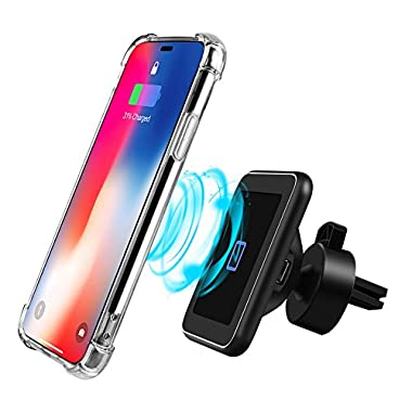 Magnetic Qi Wireless Car Charger Mount Fast Charging Air Vent Phone Holder for iPhone x, 8/8 plus, Samsung Galaxy s9 plus/s9/s8 plus/s8/s7/s7 edge, Note 8/5 and All other Qi Enabled Devices