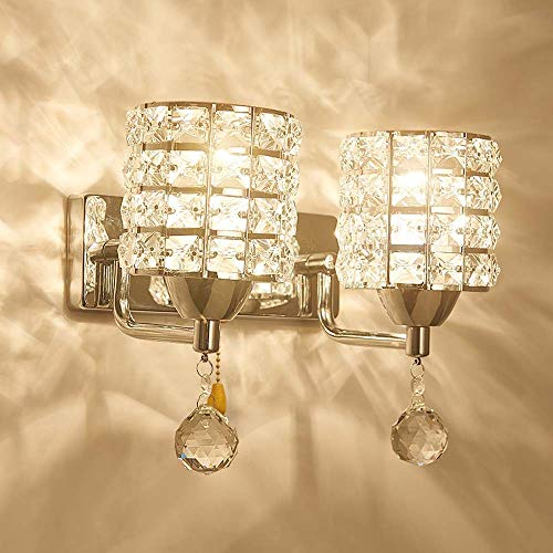 XinMei - Lámpara LED dorada de cristal moderna minimalista para sala de estar, TV, fondo, dormitorio, mesita de noche, luces de pared (color: cromado)