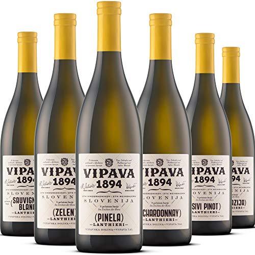 VIPAVA 1894 Weißwein Probierpaket: Lanthieri Weine (Zelen, Pinela, Sauvignon, Chardonnay, Grauburgunder, Malvazija), Weißwein Verkostung, Qualitätswein - ZGP (6x 0,75L)