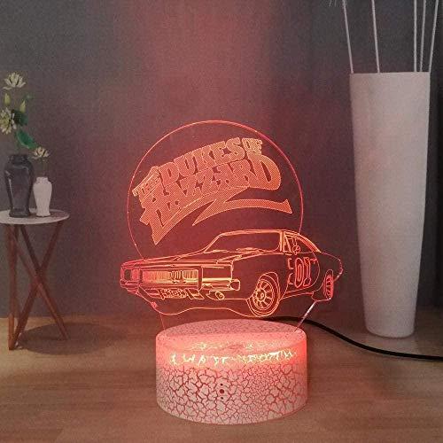 3D Illusion Lamp LED Night Lamp Cartoon Beamng Racing Car Visual The Dukes of Hazzard USB Remote Desk Lamp Game Lovers Regali per Bambini Feste di Compleanno