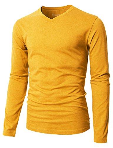 H2H Mens Casual Slim Fit Long Sleeve V-Neck T-Shirts Mustard US M/Asia L (KMTTL0374)