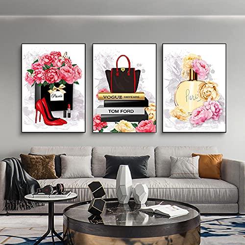SNGTOW Bolso de Mano Perfume Tacones Altos Cartel de Moda Maquillaje Estampado Floral Arte de la Pared Pintura en Lienzo Imagen Moderna Decoración de Dormitorio de niña | 40x60cmx3 Sin Marco