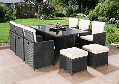 Frankfurt Co Rattan Cube Garden Furniture Set 10 seater outdoor wicker 11pcs (Black)