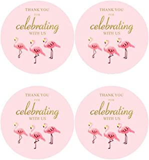"""2"""" Round 50 Pack Pink Flamingo Label Stickers Thank You Birthday Party Sticker Labels Candy Stickers for Birthday Party Ba..."""
