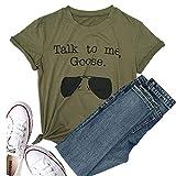 Talk to Me Goose anteojos de sol divertido Saying playera de la mujer Casual Tee Blusa Tops -  Multi color -  Medium
