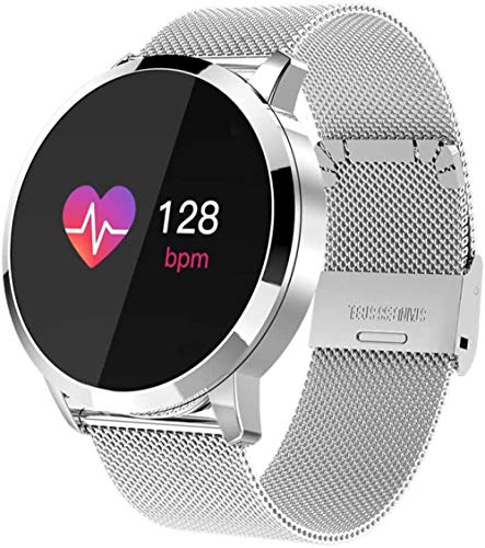 TYUI Reloj inteligente de pulsera de acero inoxidable para hombres y mujeres, monitor de ritmo cardíaco, compatible con teléfonos Android e iOS, D