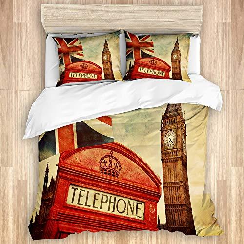 TARTINY Símbolos de Londres, Inglaterra, la Cabina telefónica roja del Reino Unido, el Big Ben y la Bandera Nacional Union Jack, Funda nórdica de Microfibra y 2 Funda de Almohada - 240 x 260 cm
