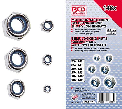 BGS 8135 | Sechskant-Muttern-Sortiment | selbstsichernd | 146-tlg.