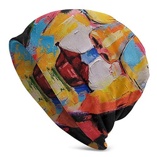 AEMAPE Sombrero de Punto Belleza con Gafas de Sol Pintura al óleo para Hombres Adultos Sombrero de Punto - Beanie Hat Sombreros Unisex, Gorra, pasamontañas, Medio pasamontañas